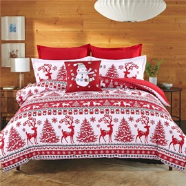 Adorila 60S Brocade Christmas Trees and Reindeer Pattern Red Cotton 4-Piece Bedding Sets