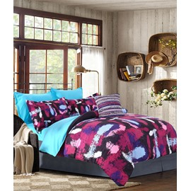 Adorila 60S Brocade Abstract Scrawl Purple Red Blue 4-Piece Cotton Bedding Sets