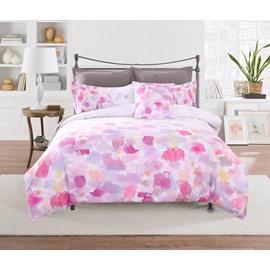 Adorila 60S Brocade Abstract Scrawl Gouache Pink 4-Piece Cotton Bedding Sets