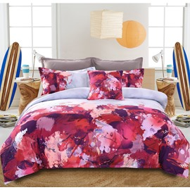 Adorila 60S Brocade Abstract Scrawl Purple White Red 4-Piece Cotton Bedding Sets