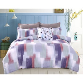 Adorila 60S Brocade Abstract Scrawl Grey and Purple Stripes 4-Piece Cotton Bedding Sets