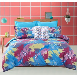 Adorila 60S Brocade Abstract Scrawl Red Yellow Blue 4-Piece Cotton Bedding Sets