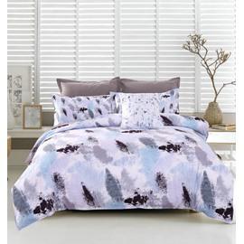 Adorila 60S Brocade Abstract Scrawl Grey and Black 4-Piece Cotton Bedding Sets