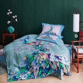 Spring Elegant Peacock Printed 4-Piece Cotton Blue Bedding Sets/Duvet Cover