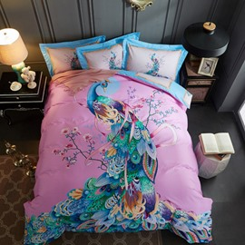Spring Floral Peacock Printed 4-Piece Cotton Pink Bedding Sets/Duvet Cover