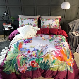 Colorful Spring Flowers Printed 4-Piece Long-staple Cotton Wine Red Bedding Sets/Duvet Cover