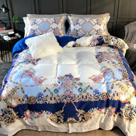 Luxurious Spring Flowers Printed 4-Piece Long-staple Cotton Blue Bedding Sets/Duvet Cover