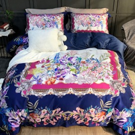 Luxury Spring Various Flowers Printed 4-Piece Long-staple Cotton Bedding Sets/Duvet Cover