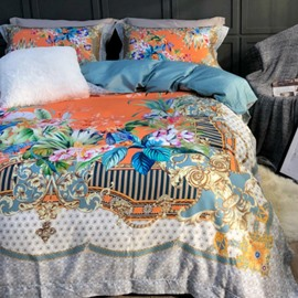 Luxury Spring Flowers Printed 4-Piece Long-staple Cotton Orange Bedding Sets/Duvet Cover
