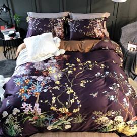 Luxury Flowers Printed 4-Piece Long-staple Cotton Purplish Brown Bedding Sets/Duvet Cover