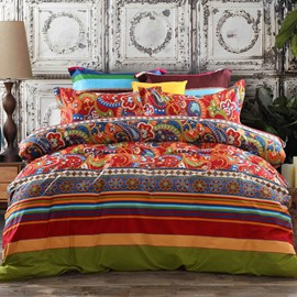Ethnic Vintage Floral Striped Cotton Boho Bohemian Style 4-Piece Bedding Sets/Duvet Covers Endurable Skin-friendly All-Season