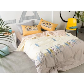 Cute Cat Cotton Goose Yellow 4-Piece Bedding Sets/Duvet Cover