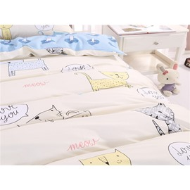 Cute Cat Cotton Light Blue 4-Piece Bedding Sets/Duvet Cover