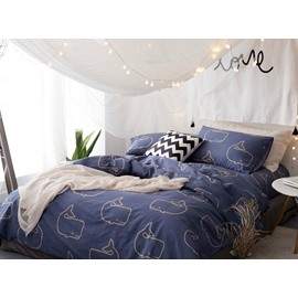 Cute Dolphin Back Cotton Dark Blue 4-Piece Bedding Sets/Duvet Cover