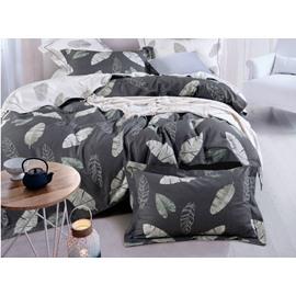 Grey Leaves Cotton 4-Piece Bedding Sets/Duvet Cover