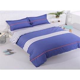 Blue Stripes Cotton 4-Piece Bedding Sets/Duvet Cover
