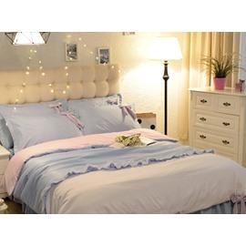 Blue And White Lace Decor Cotton Princess Style 4-Piece Bedding Sets/Duvet Cover