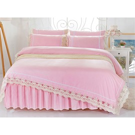 Cute Pink Cotton Material Lace-Detailed 4-Piece Bedding Sets/Duvet Cover