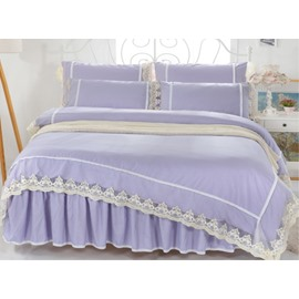 Elegant Purple Cotton Lace- Detailed 4-Piece Bedding Sets/Duvet Cover