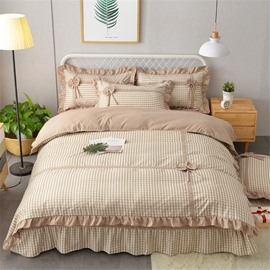 Plaid and Stripe Simple Bow Velvet 4-Piece Bedding Sets/Duvet Cover