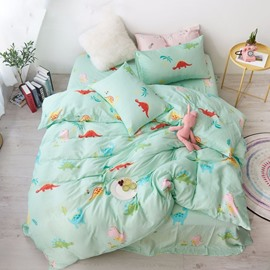Cotton Light Green Dinosaur Pattern Cartoon Style 4-Piece Kids Bedding Sets/Duvet Cover
