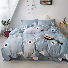Cartoon Cute Elephant Pattern Cotton Simple Style 4-Piece Kids Bedding Sets/Duvet Cover