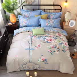 Elegant Flower Printing Cotton 4-Piece Bedding Sets/Duvet Cover