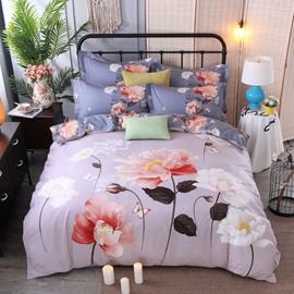 Pink and White Flower Printing Cotton 4-Piece Bedding Sets/Duvet Cover