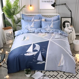 Set Sailing Printing Cotton 4-Piece Bedding Sets/Duvet Cover