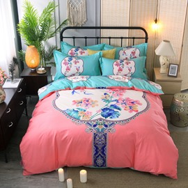 Floral Blooming Printing Cotton Pink 4-Piece Bedding Sets/Duvet Cover