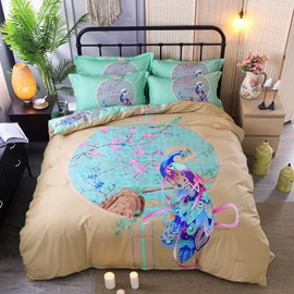 Peacock and Peach Blossom Printing Cotton Green 4-Piece Bedding Sets/Duvet Cover