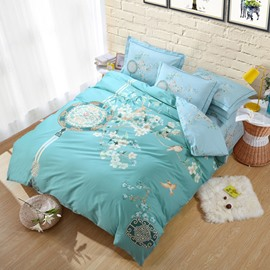 Birds and Fragrant Flowers Printing Green Cotton 4-Piece Bedding Sets/Duvet Cover