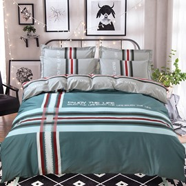 Simple Stripes Printing Green Cotton 4-Piece Bedding Sets/Duvet Cover