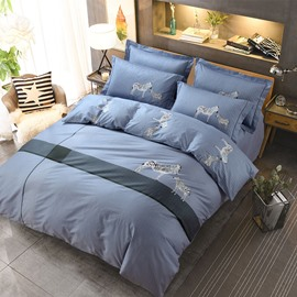 Zebra and Simple Stripes Printing Blue Cotton 4-Piece Bedding Sets/Duvet Cover