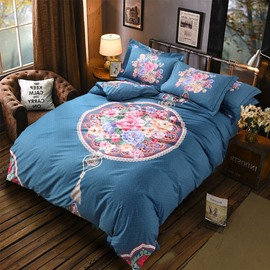 Peonies and Circle Printing Cotton 4-Piece Bedding Sets/Duvet Cover