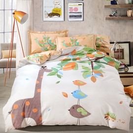 Cartoon Giraffe and Birds Printing Cotton 4-Piece Bedding Sets/Duvet Cover