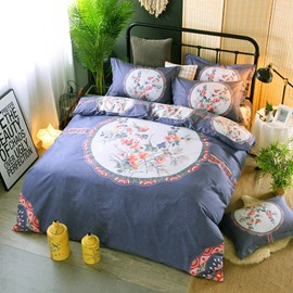 Orange Flower in the Circle Printing Elegant Cotton 4-Piece Bedding Sets/Duvet Cover