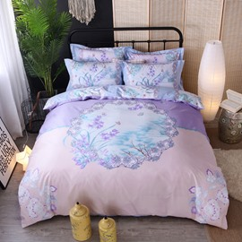 Light Purple Elegant Orchid Printing Cotton 4-Piece Bedding Sets/Duvet Cover