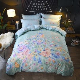 Peacock and Flower Tail Printing Multi-color Cotton 4-Piece Bedding Sets/Duvet Cover