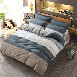 Simple Stripes Style Grey Cotton 4-Piece Bedding Sets/Duvet Cover