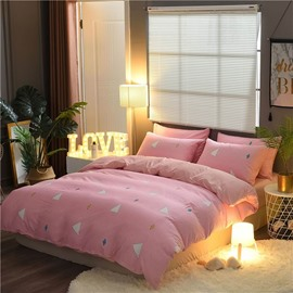 Simple Geometric Printing Double Fabric Cotton 4-Piece Pink Bedding Sets/Duvet Cover