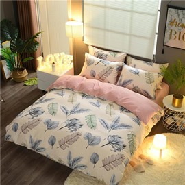 Leaves Printing Double Fabric Pink 4-Piece Bedding Sets/Duvet Cover