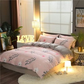 Flower and Leaves Printing Cotton and Velvet Printing 4-Piece Bedding Sets/Duvet Cover