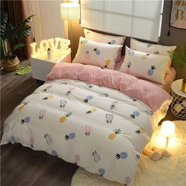 Cartoon Pineapple Printed Double Version Fabric Cotton 4-Piece Bedding Sets/Duvet Cover