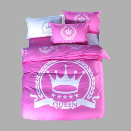 Pink Queen and Crown Printed Cotton 4-Piece Bedding Sets/Duvet Covers