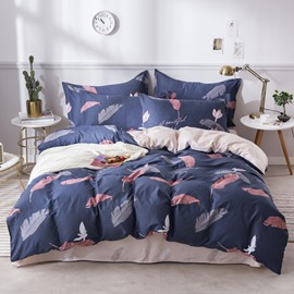 Leaves Printed Blue Cotton 4-Piece Bedding Sets/Duvet Covers