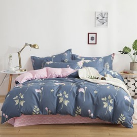 Flower Printing Blue and Pink Cotton 4-Piece Bedding Sets/Duvet Covers