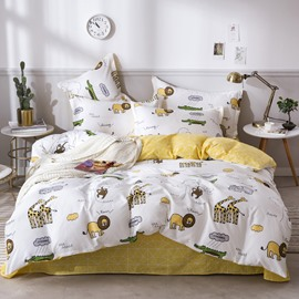 Cartoon Lions and Giraffes Animal Printed 4-Piece Bedding Sets/Duvet Covers