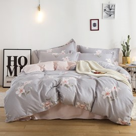 Lily Printed Grey and Pink Printed Cotton 4-Piece Bedding Sets/Duvet Covers