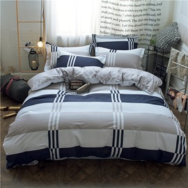 Classic Plaid and Stripe Design 4Pcs Cotton Bedding Sets Durable Soft Zipper Duvet Cover